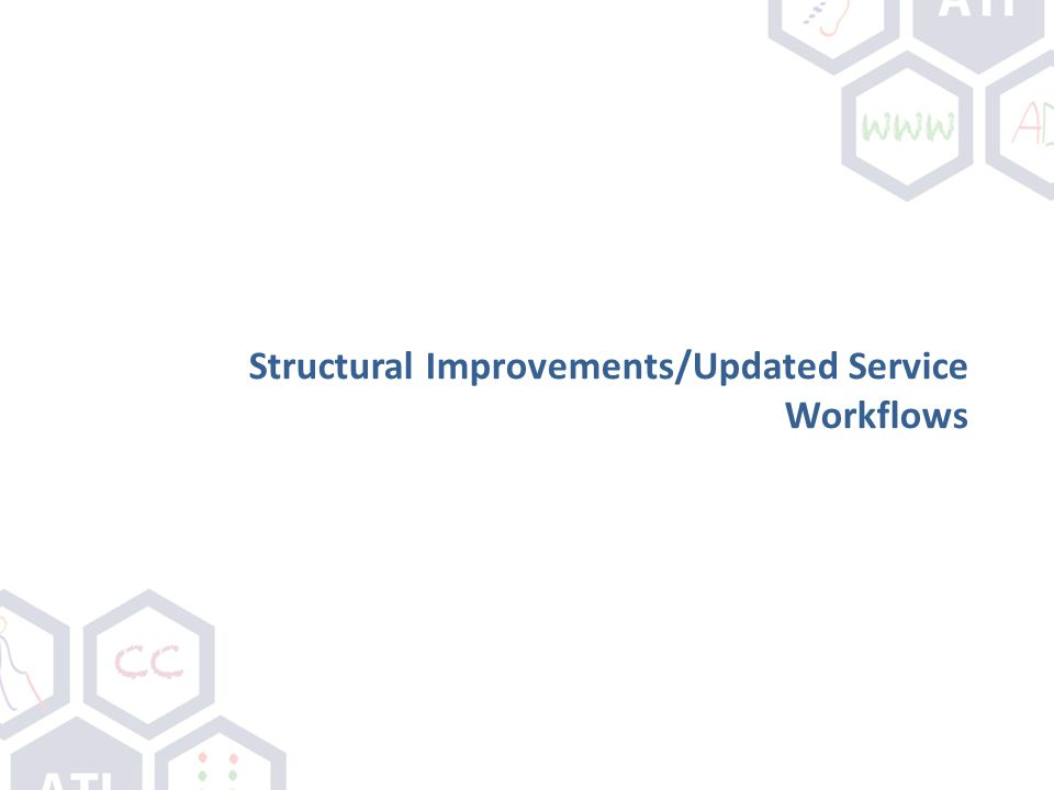 Structural Improvements/Updated Service Workflows