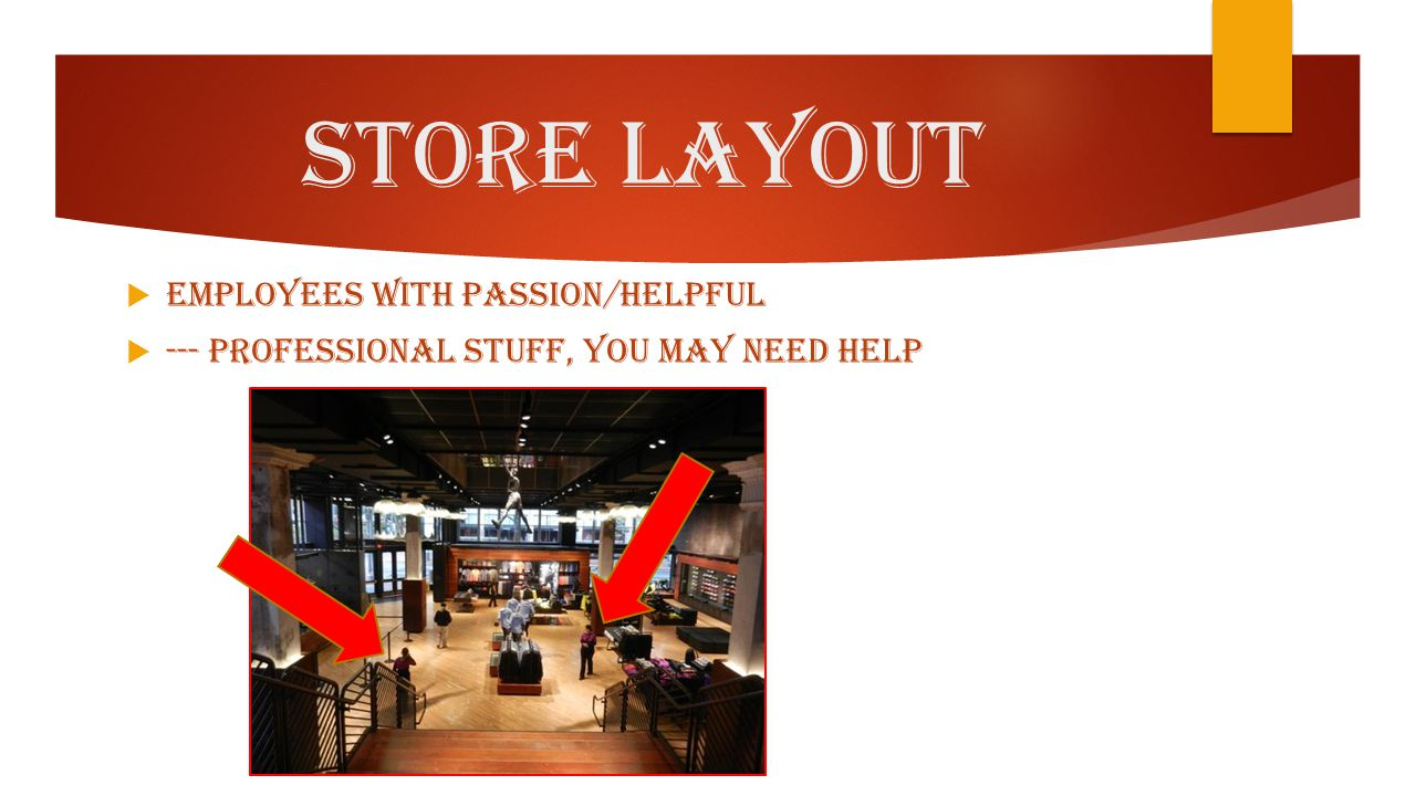 Store Layout  Employees with passion/helpful  --- professional stuff, you may need help