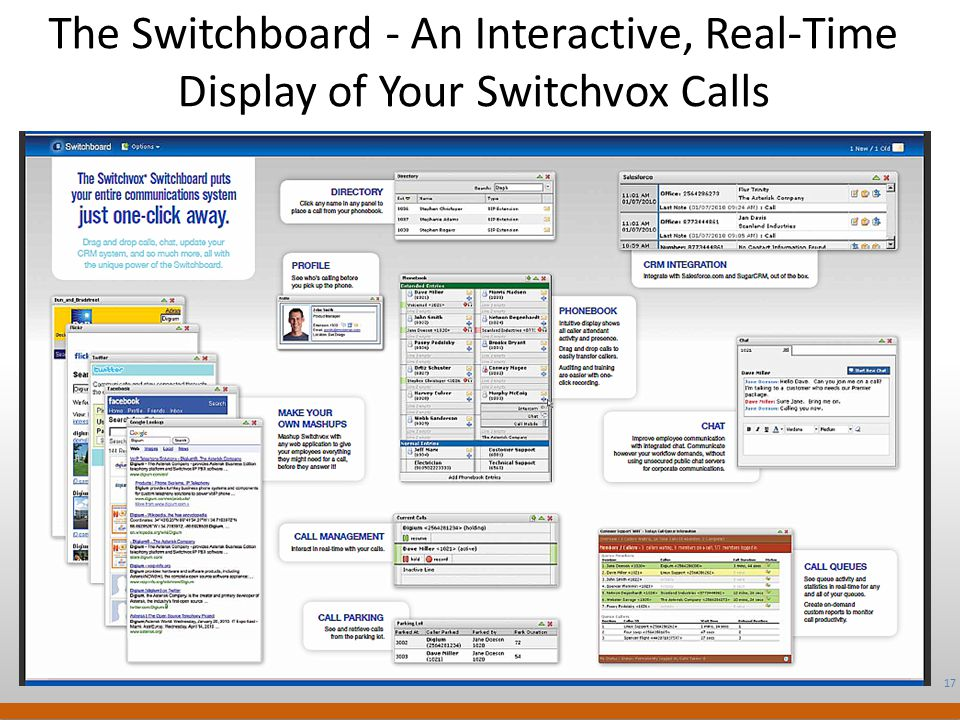 17 Digium Confidential The Switchboard - An Interactive, Real-Time Display of Your Switchvox Calls