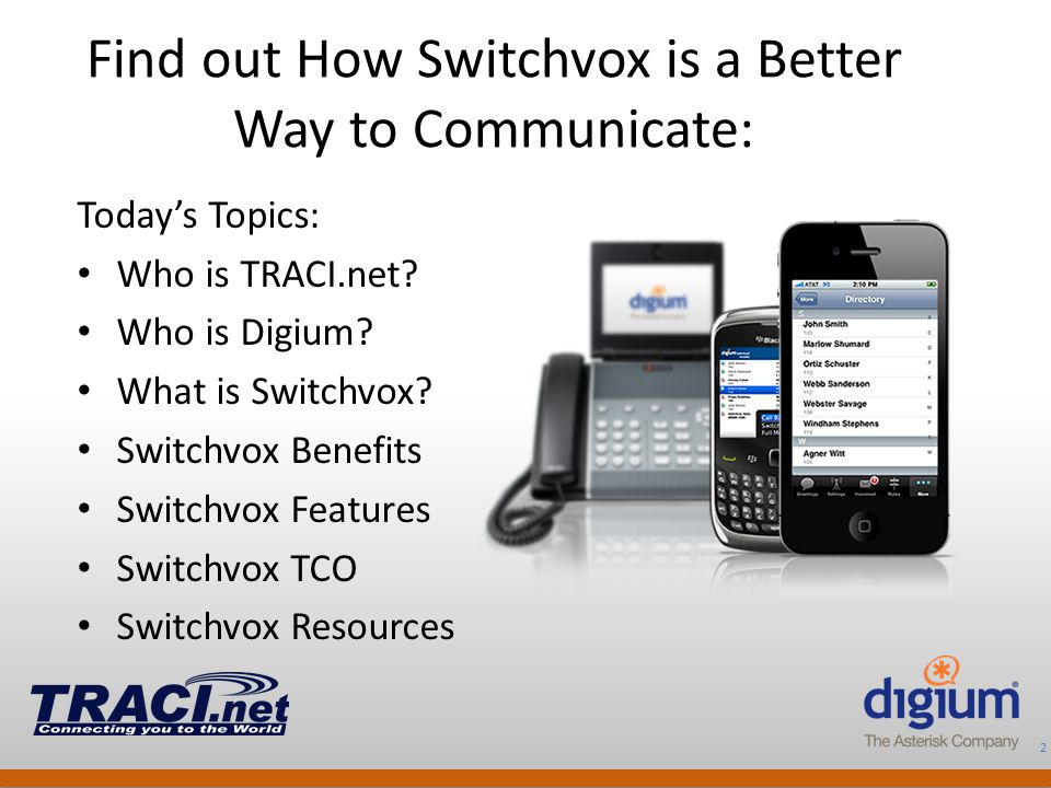 2 Digium Confidential Find out How Switchvox is a Better Way to Communicate: Today's Topics: Who is TRACI.net? Who is Digium? What is Switchvox? Switc