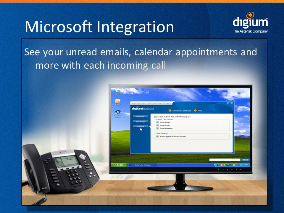 22 Digium Confidential Microsoft Integration See your unread emails, calendar appointments and more with each incoming call