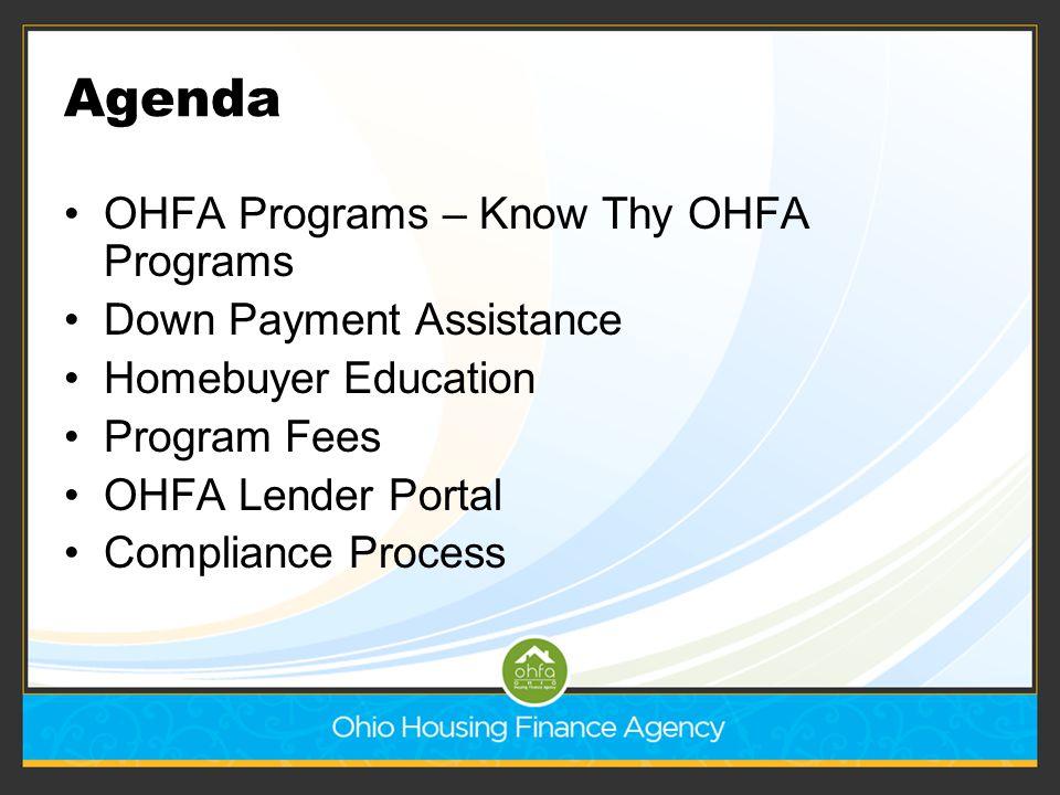 Agenda OHFA Programs – Know Thy OHFA Programs Down Payment Assistance Homebuyer Education Program Fees OHFA Lender Portal Compliance Process