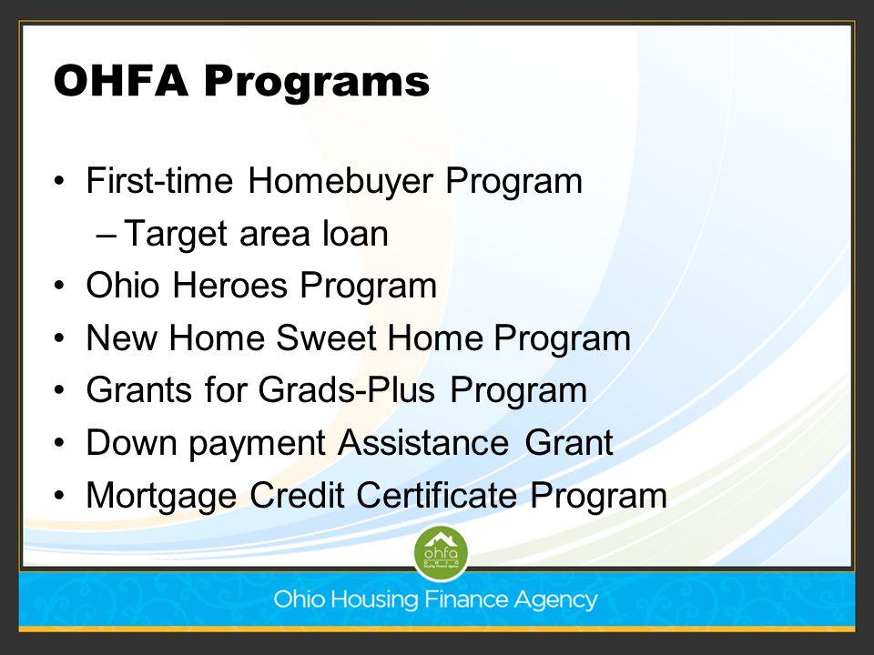 OHFA Programs First-time Homebuyer Program –Target area loan Ohio Heroes Program New Home Sweet Home Program Grants for Grads-Plus Program Down paymen