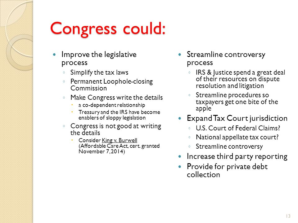 Congress could: Improve the legislative process ◦ Simplify the tax laws ◦ Permanent Loophole-closing Commission ◦ Make Congress write the details  a co-dependent relationship  Treasury and the IRS have become enablers of sloppy legislation ◦ Congress is not good at writing the details  Consider King v.