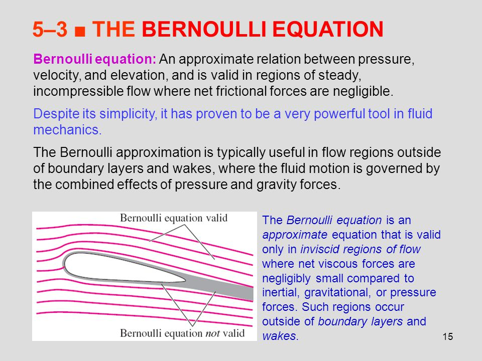 15 5–3 ■ THE BERNOULLI EQUATION Bernoulli equation: An approximate relation between pressure, velocity, and elevation, and is valid in regions of stea