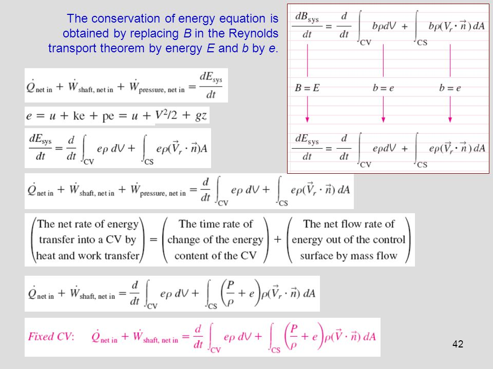42 The conservation of energy equation is obtained by replacing B in the Reynolds transport theorem by energy E and b by e.