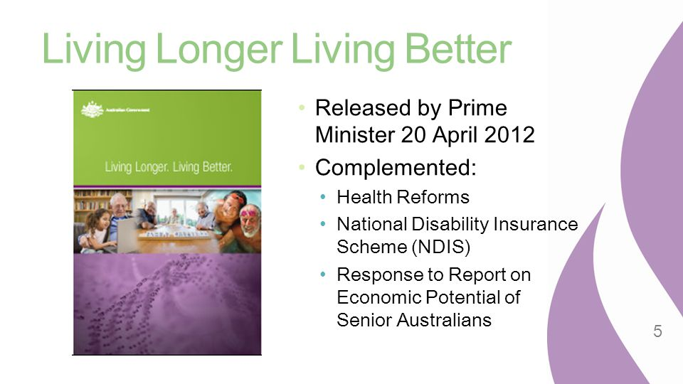 Living Longer Living Better Released by Prime Minister 20 April 2012 Complemented: Health Reforms National Disability Insurance Scheme (NDIS) Response