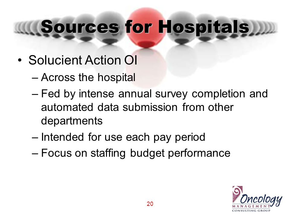 20 Sources for Hospitals Solucient Action OI –Across the hospital –Fed by intense annual survey completion and automated data submission from other de