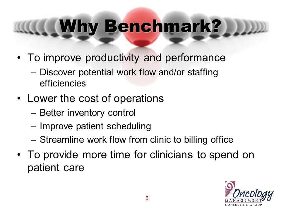 5 Why Benchmark? To improve productivity and performance –Discover potential work flow and/or staffing efficiencies Lower the cost of operations –Bett