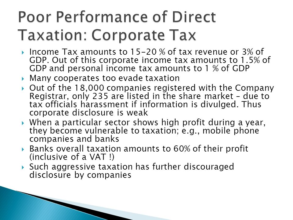  Recognizing these anomalies of the taxation system, a Presidential Taxation Commission was appointed in 2009  Mandate was to simplify the tax system, rationalize tax concessions, broaden the tax base, improve coordination among revenue collecting agencies, etc.