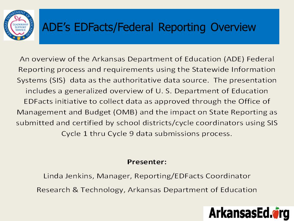 TOPICS Current Information Systems Architecture ADE State/Federal Reporting – ADE State/Public Reporting ADE Data Center Statewide Information System Reports ADE Data Availability – ADE Federal Reporting What is EDFact.