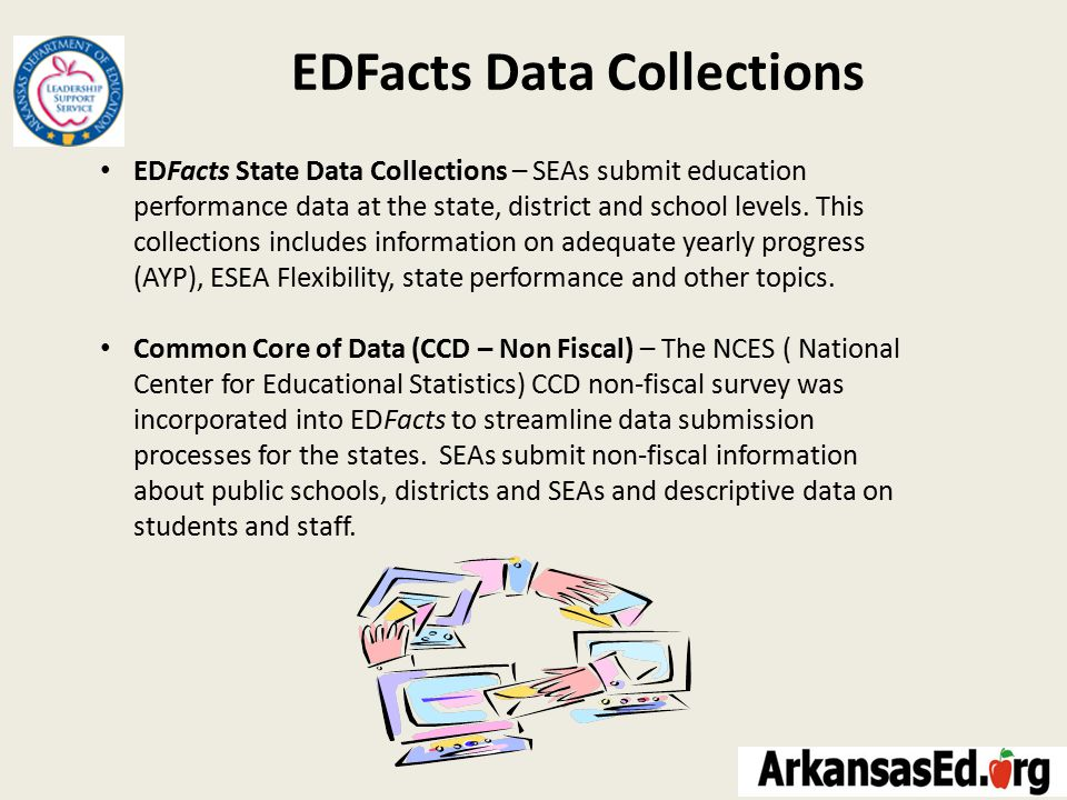EDFacts Data Collections EDFacts State Data Collections – SEAs submit education performance data at the state, district and school levels.