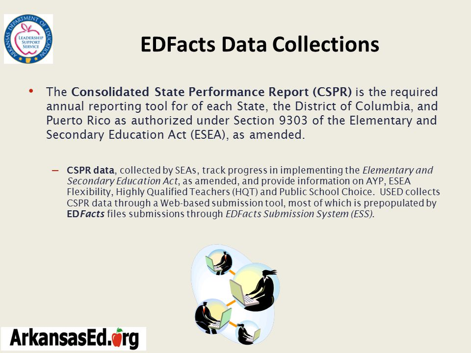 EDFacts Data Collections The Consolidated State Performance Report (CSPR) is the required annual reporting tool for of each State, the District of Columbia, and Puerto Rico as authorized under Section 9303 of the Elementary and Secondary Education Act (ESEA), as amended.