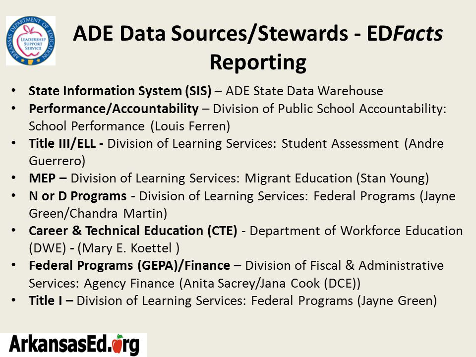 ADE Data Sources/Stewards - EDFacts Reporting State Information System (SIS) – ADE State Data Warehouse Performance/Accountability – Division of Public School Accountability: School Performance (Louis Ferren) Title III/ELL - Division of Learning Services: Student Assessment (Andre Guerrero) MEP – Division of Learning Services: Migrant Education (Stan Young) N or D Programs - Division of Learning Services: Federal Programs (Jayne Green/Chandra Martin) Career & Technical Education (CTE) - Department of Workforce Education (DWE) - (Mary E.