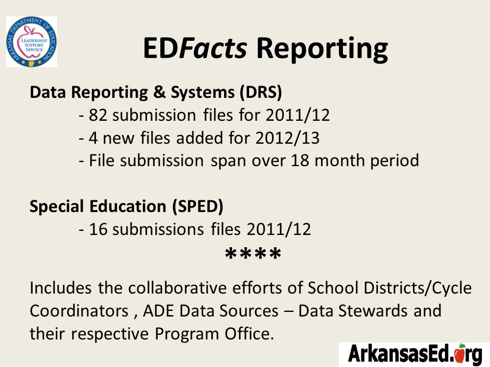 EDFacts Reporting Data Reporting & Systems (DRS) - 82 submission files for 2011/12 - 4 new files added for 2012/13 - File submission span over 18 month period Special Education (SPED) - 16 submissions files 2011/12 **** Includes the collaborative efforts of School Districts/Cycle Coordinators, ADE Data Sources – Data Stewards and their respective Program Office.