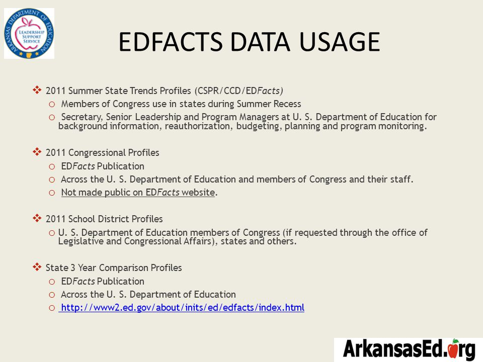 EDFACTS DATA USAGE  2011 Summer State Trends Profiles (CSPR/CCD/EDFacts) o Members of Congress use in states during Summer Recess o Secretary, Senior Leadership and Program Managers at U.