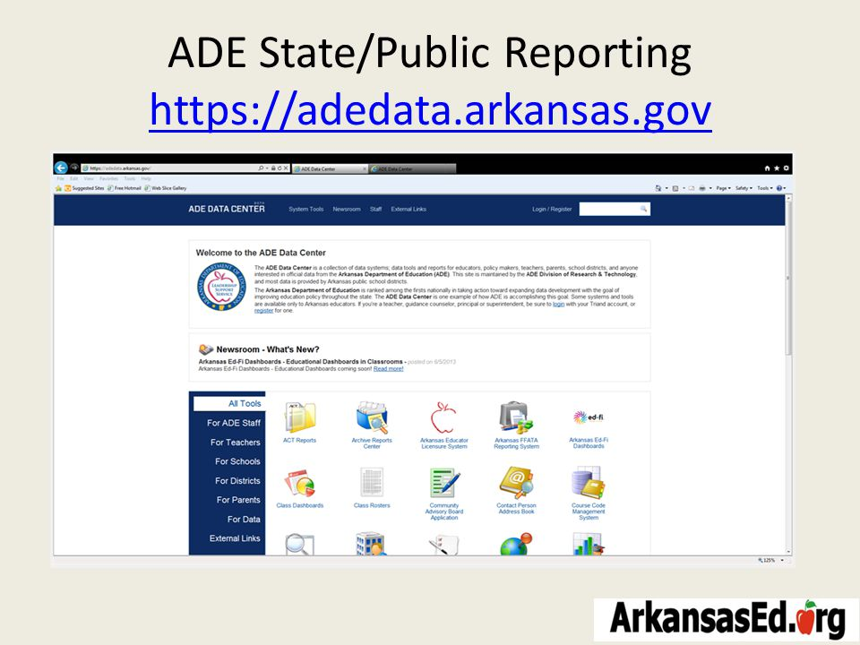 ADE State/Public Reporting https://adedata.arkansas.gov https://adedata.arkansas.gov