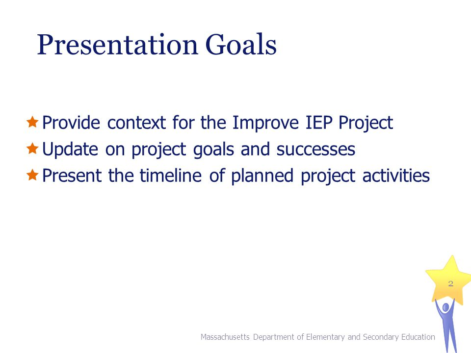 Presentation Goals  Provide context for the Improve IEP Project  Update on project goals and successes  Present the timeline of planned project act