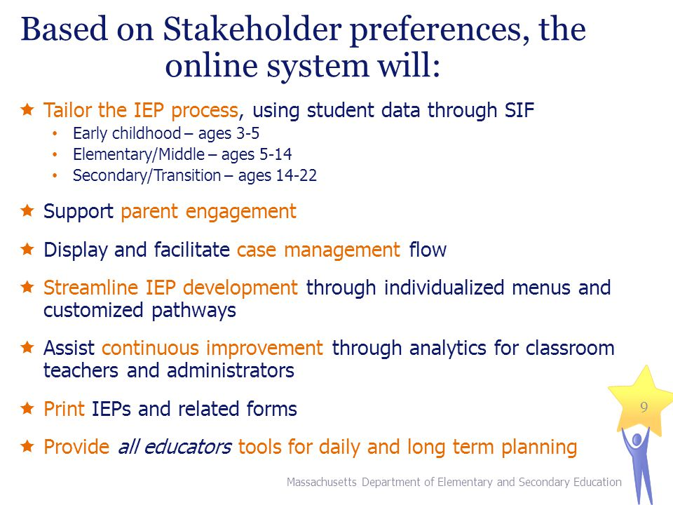  Tailor the IEP process, using student data through SIF Early childhood – ages 3-5 Elementary/Middle – ages 5-14 Secondary/Transition – ages 14-22  Support parent engagement  Display and facilitate case management flow  Streamline IEP development through individualized menus and customized pathways  Assist continuous improvement through analytics for classroom teachers and administrators  Print IEPs and related forms  Provide all educators tools for daily and long term planning Massachusetts Department of Elementary and Secondary Education 9 Based on Stakeholder preferences, the online system will: