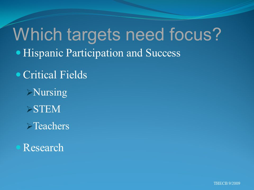 Which targets need focus? Hispanic Participation and Success Critical Fields  Nursing  STEM  Teachers Research THECB 9/2009