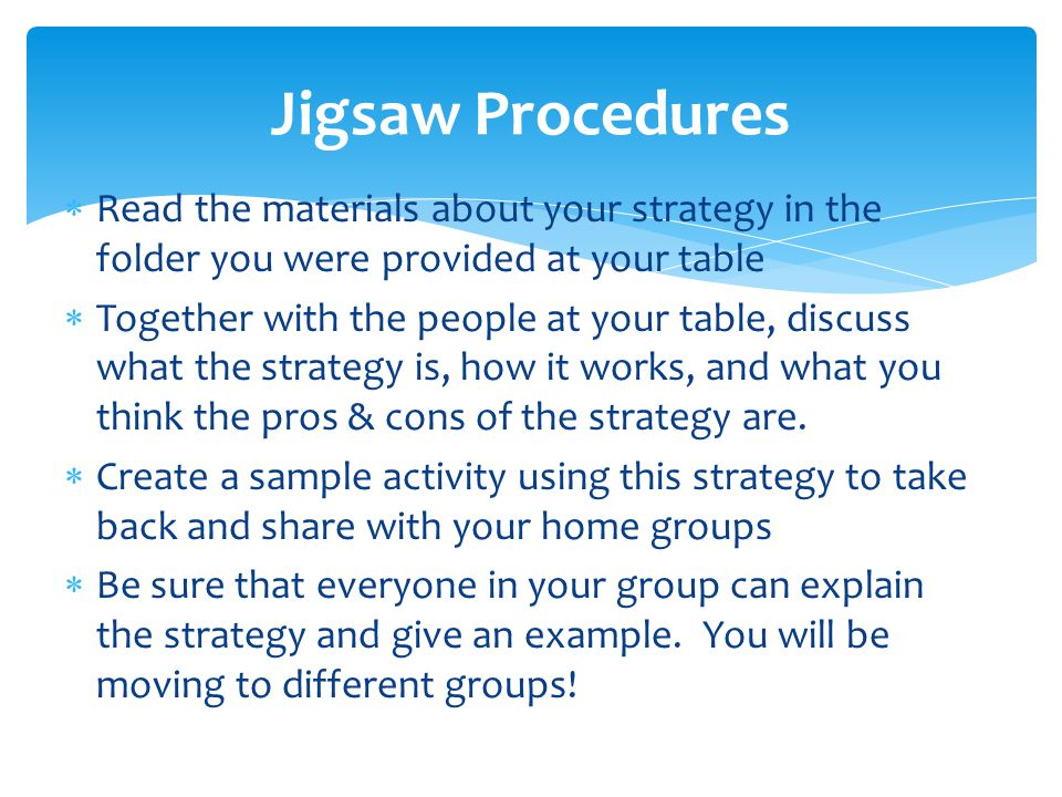  Read the materials about your strategy in the folder you were provided at your table  Together with the people at your table, discuss what the strategy is, how it works, and what you think the pros & cons of the strategy are.
