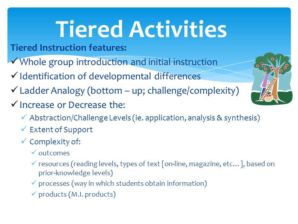 Tiered Activities Tiered Instruction features: Whole group introduction and initial instruction Identification of developmental differences Ladder Analogy (bottom – up; challenge/complexity) Increase or Decrease the: Abstraction/Challenge Levels (ie.