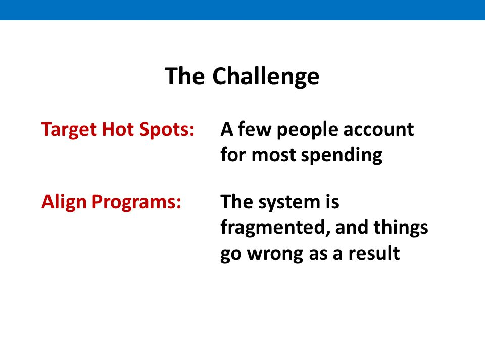 The Challenge Target Hot Spots:A few people account for most spending Align Programs:The system is fragmented, and things go wrong as a result