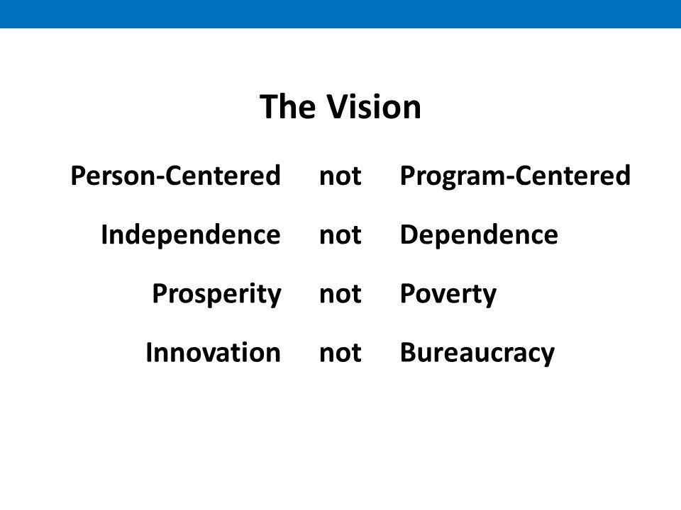 The Vision Person-CenterednotProgram-Centered IndependencenotDependence ProsperitynotPoverty InnovationnotBureaucracy