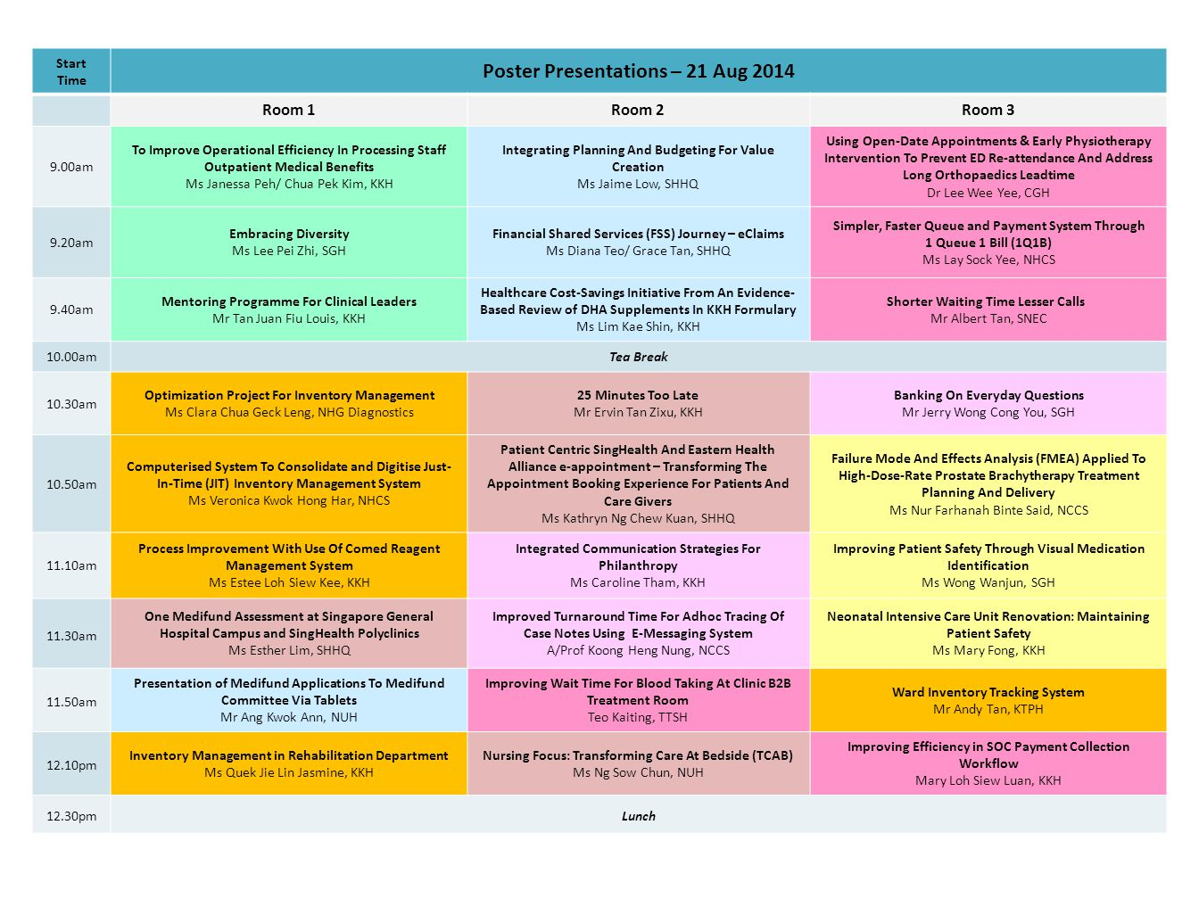 Start Time Poster Presentations – 21 Aug 2014 Room 1Room 2Room 3 9.00am To Improve Operational Efficiency In Processing Staff Outpatient Medical Benef