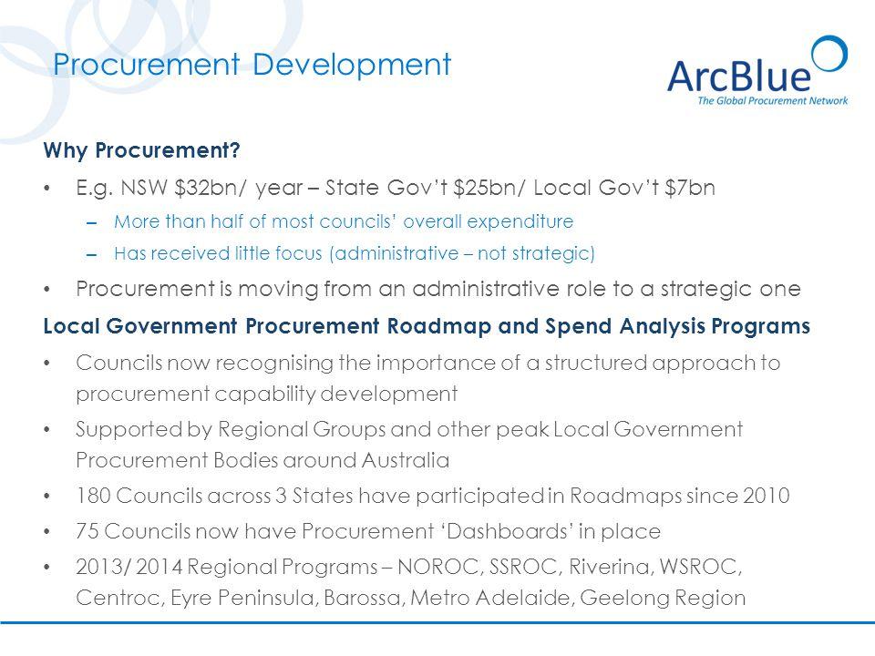 Procurement Development Why Procurement. E.g.