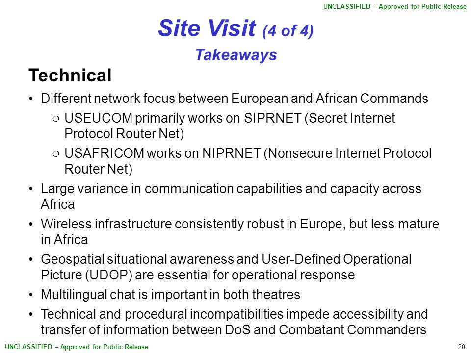 20 UNCLASSIFIED – Approved for Public Release Site Visit (4 of 4) Takeaways Technical Different network focus between European and African Commands o