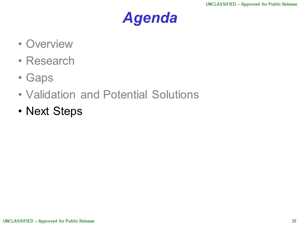 30 UNCLASSIFIED – Approved for Public Release Agenda Overview Research Gaps Validation and Potential Solutions Next Steps