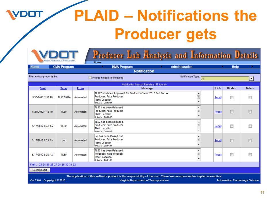 PLAID – Notifications the Producer gets 11