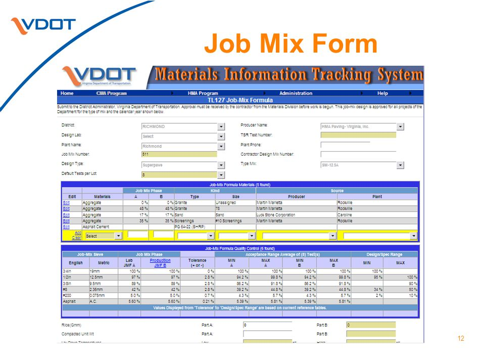 Job Mix Form 12