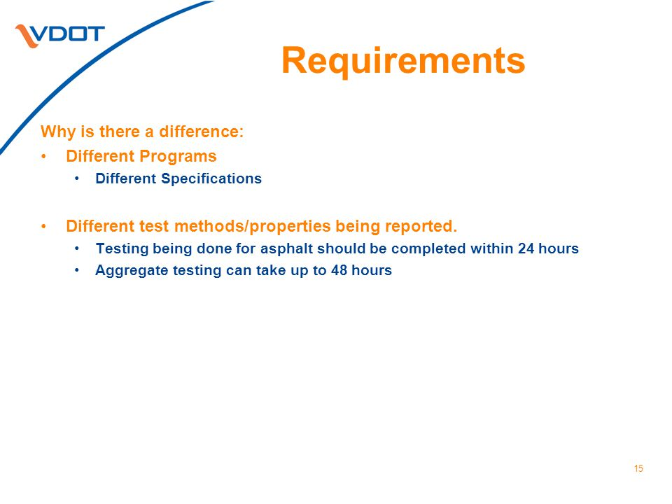 Requirements Why is there a difference: Different Programs Different Specifications Different test methods/properties being reported. Testing being do