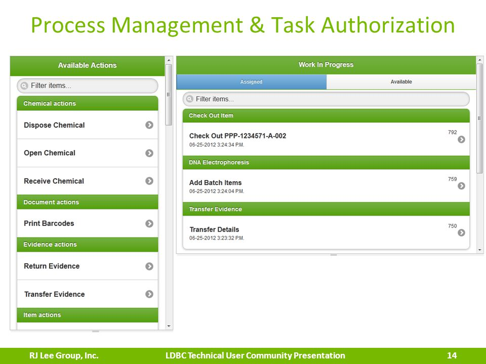 Process Management & Task Authorization 14 LDBC Technical User Community PresentationRJ Lee Group, Inc.