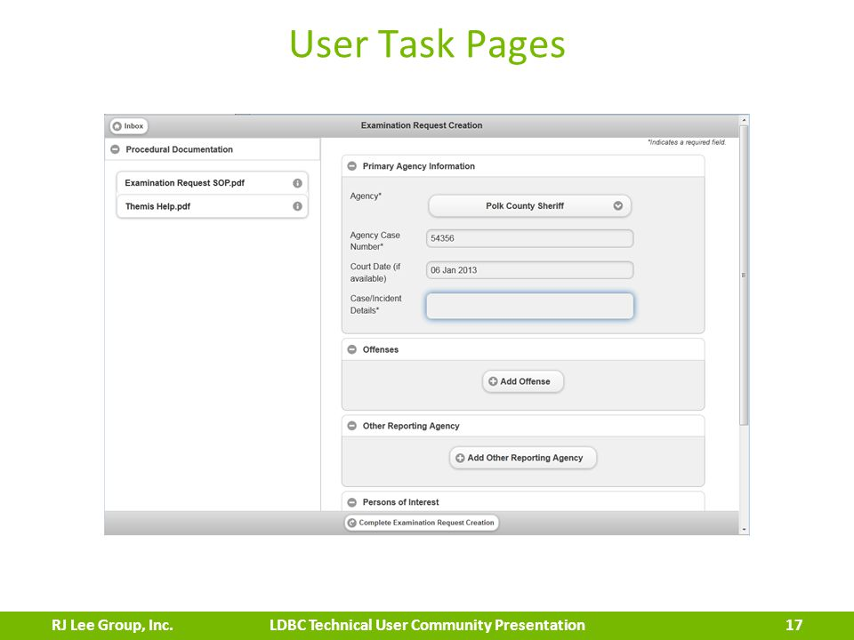 User Task Pages 17 LDBC Technical User Community PresentationRJ Lee Group, Inc.