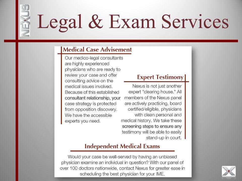 Legal & Exam Services