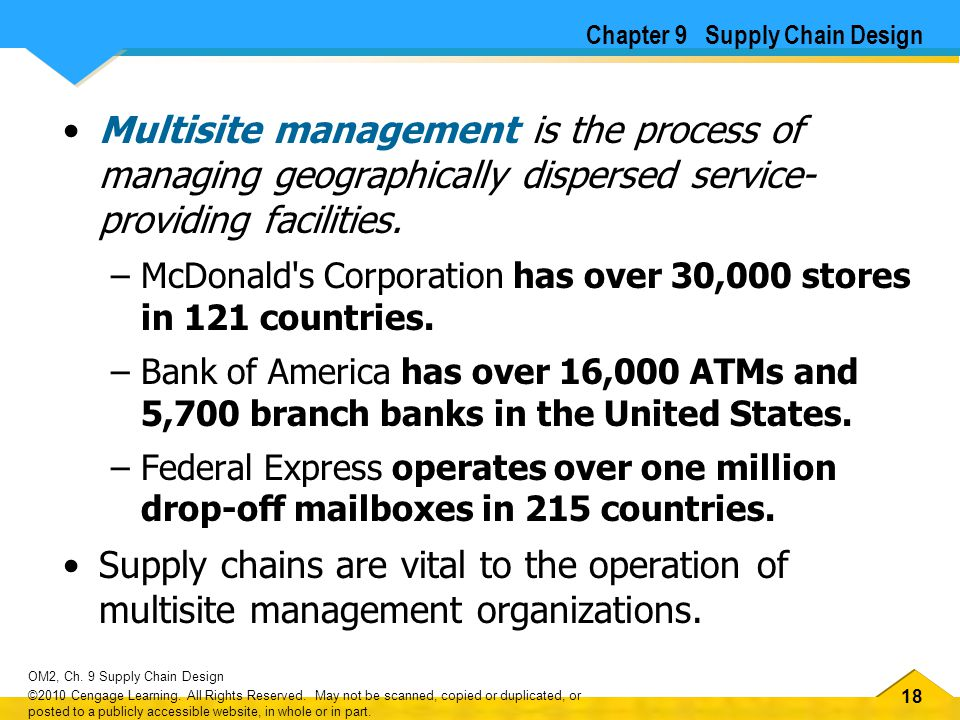 18 OM2, Ch. 9 Supply Chain Design ©2010 Cengage Learning. All Rights Reserved. May not be scanned, copied or duplicated, or posted to a publicly acces