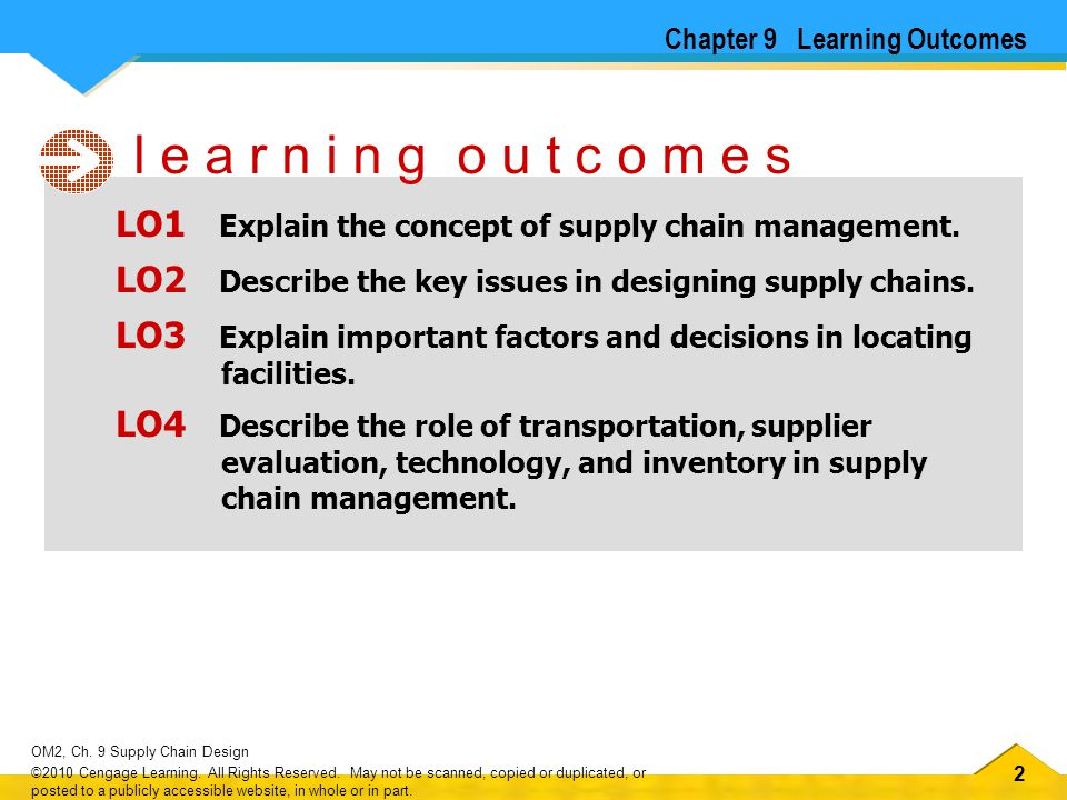 33 OM2, Ch.9 Supply Chain Design ©2010 Cengage Learning.