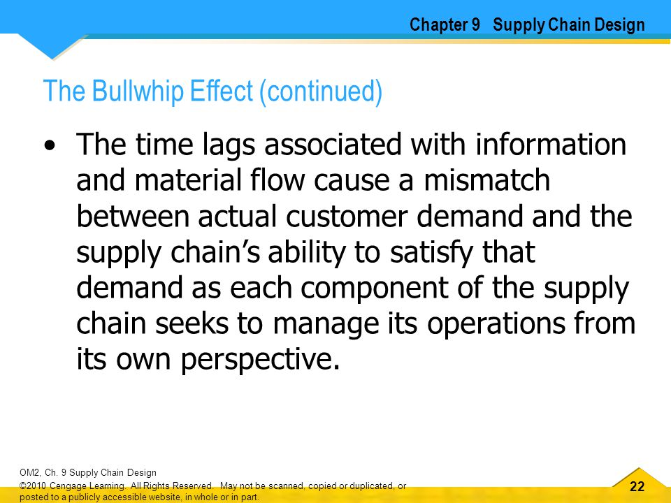 22 OM2, Ch. 9 Supply Chain Design ©2010 Cengage Learning.
