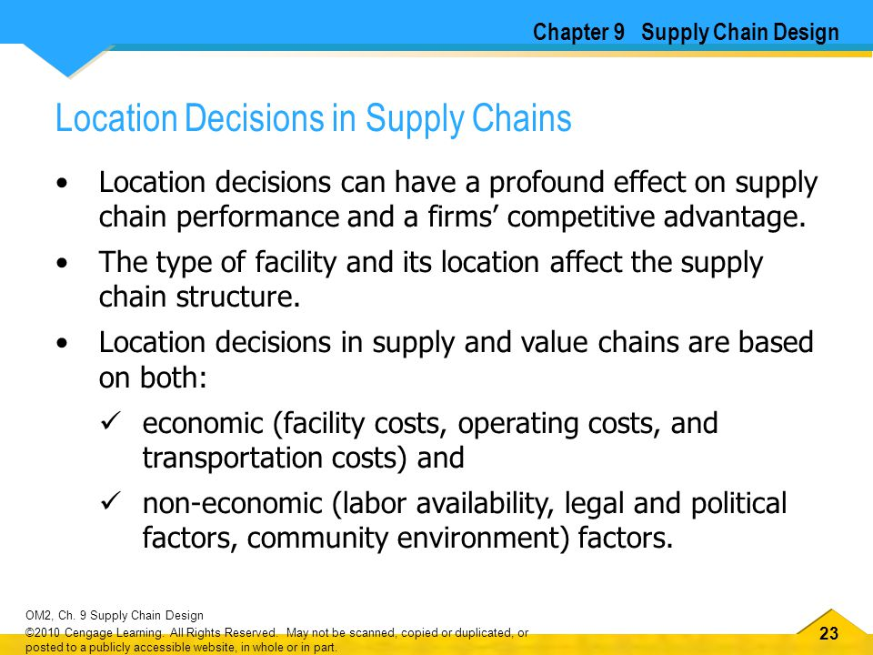 23 OM2, Ch. 9 Supply Chain Design ©2010 Cengage Learning. All Rights Reserved. May not be scanned, copied or duplicated, or posted to a publicly acces