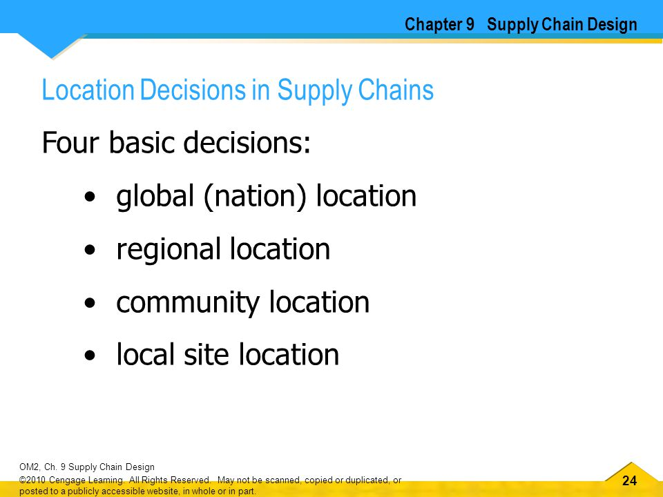 24 OM2, Ch. 9 Supply Chain Design ©2010 Cengage Learning. All Rights Reserved. May not be scanned, copied or duplicated, or posted to a publicly acces