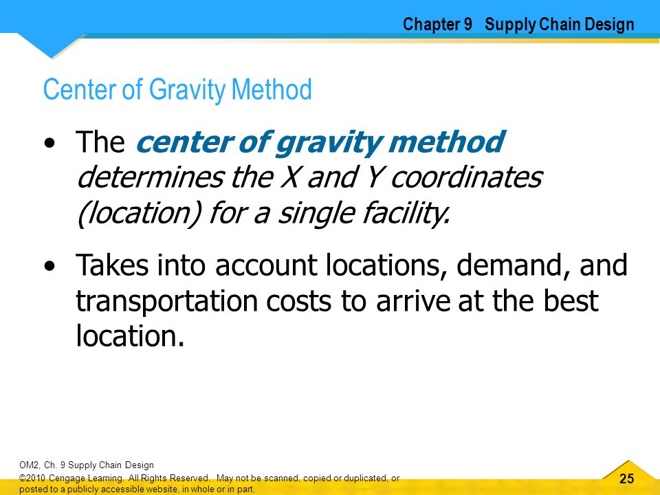 25 OM2, Ch. 9 Supply Chain Design ©2010 Cengage Learning. All Rights Reserved. May not be scanned, copied or duplicated, or posted to a publicly acces