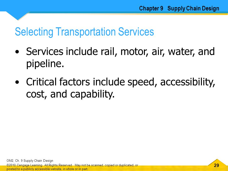 29 OM2, Ch. 9 Supply Chain Design ©2010 Cengage Learning. All Rights Reserved. May not be scanned, copied or duplicated, or posted to a publicly acces