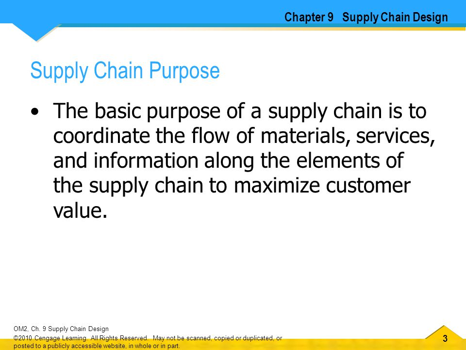 33 OM2, Ch. 9 Supply Chain Design ©2010 Cengage Learning.