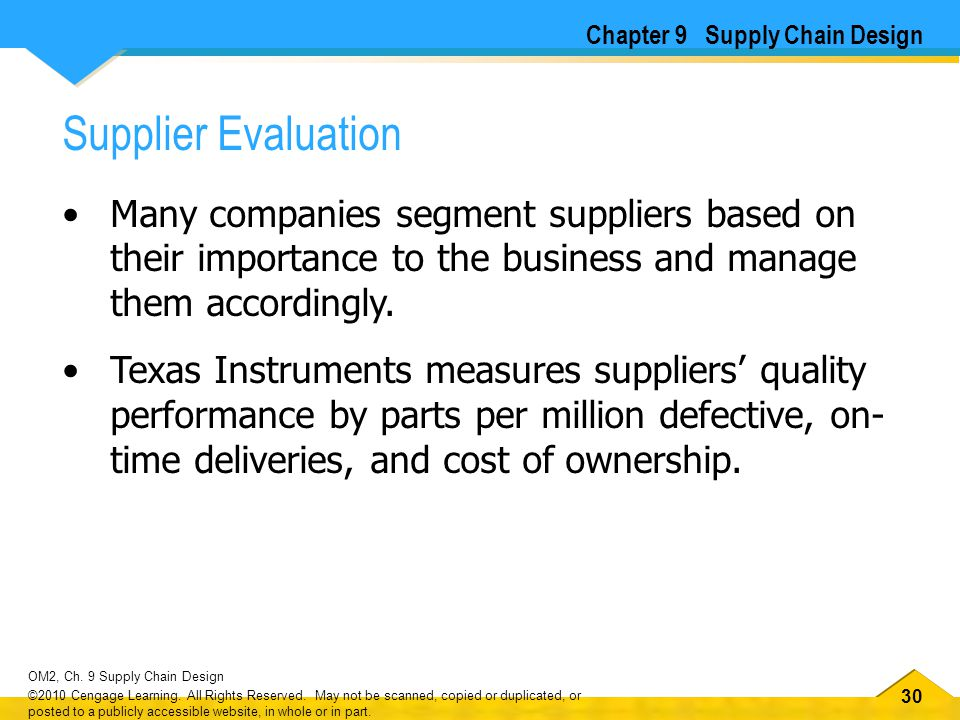 30 OM2, Ch. 9 Supply Chain Design ©2010 Cengage Learning. All Rights Reserved. May not be scanned, copied or duplicated, or posted to a publicly acces
