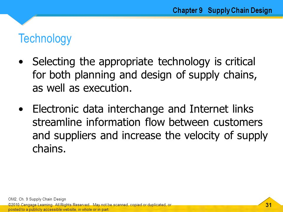 32 OM2, Ch.9 Supply Chain Design ©2010 Cengage Learning.