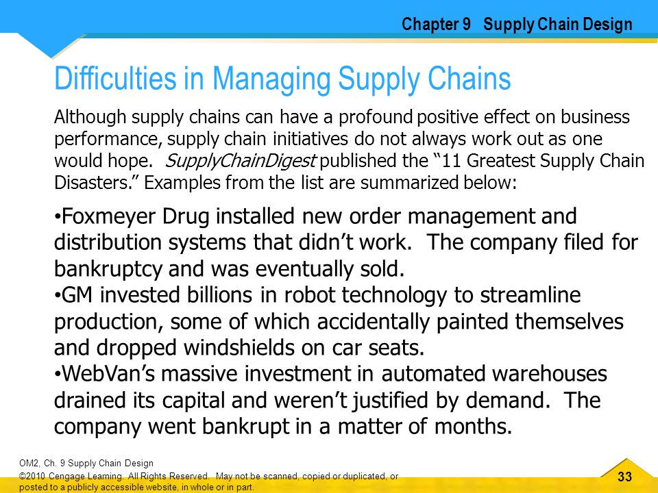 33 OM2, Ch. 9 Supply Chain Design ©2010 Cengage Learning. All Rights Reserved. May not be scanned, copied or duplicated, or posted to a publicly acces