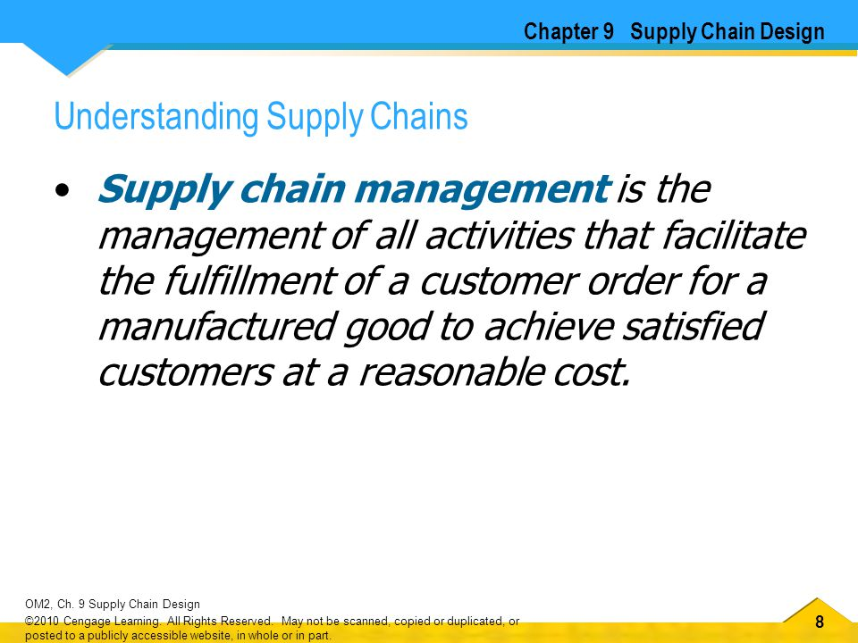 88 OM2, Ch. 9 Supply Chain Design ©2010 Cengage Learning. All Rights Reserved. May not be scanned, copied or duplicated, or posted to a publicly acces